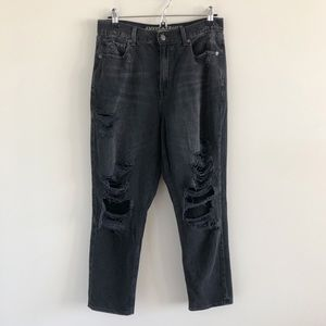 American Eagle Mom Jean Distressed Gray Black 10
